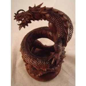 Dragon artisan crafted wood sculpture