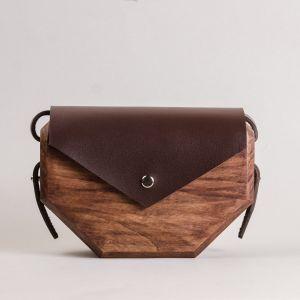 Beige leather wood bag