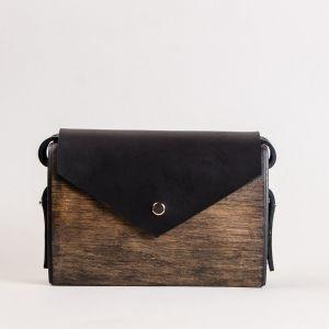 Wood and leather shoulder bag