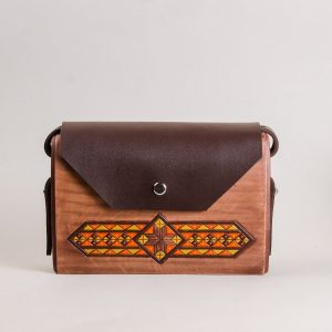 Brown leather wood bag