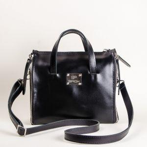 Ladies black leather organizer bag