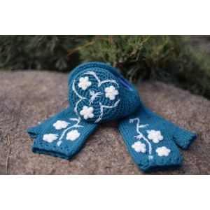 "Ear muffs and mittens set ""Blue tenderness"""