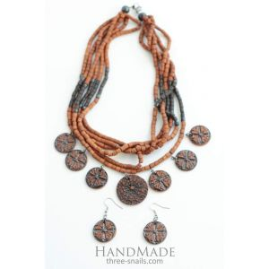 """Earrings and necklace set """"Arabica"""""""