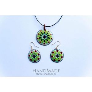 """Earrings and necklace set """"Green grass"""""""