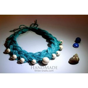 "Eco jute necklace ""The Blue Lagoon"""