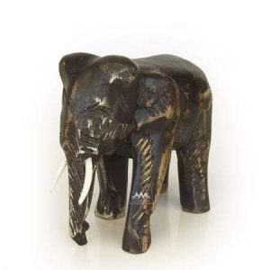 Elephant artisan crafted wood sculpture