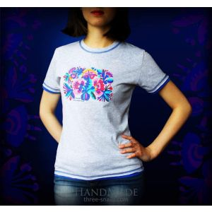 Embroided Woman T-shirt «Flowers»