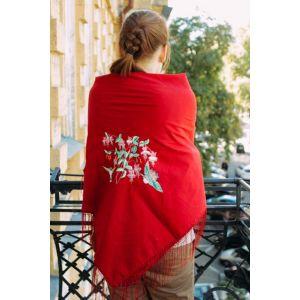 "Embroidered ladies shawl ""Hummingbird heartbeat"""