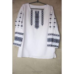 """Embroidered peasant blouse """"Blue lozenge pattern"""""""