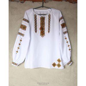 "Embroidered peasant top ""Orange lozenge pattern"""