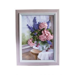 """Embroidered ribbon picture 'Morning bouquet"""""""