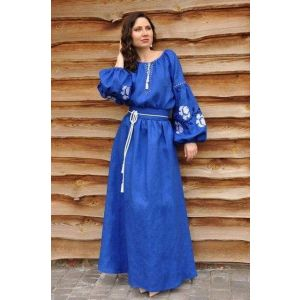 "Embroidered woman dress ""Cobalt rose"""