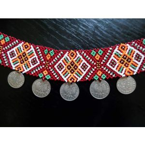 Ethnic jewelry. 'Guzul' sylianka with coins necklace