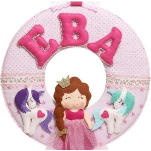 "Fabric letters ""Princess and two unicorns"""