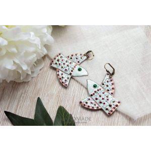 """Fashion earrings """"White bird"""""""