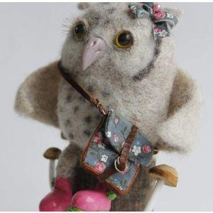 """Felt animals """"Owl with bow"""""""