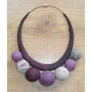 "Felt necklace ""Violet rhapsody"""