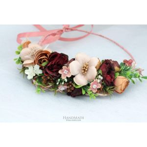 """Floral halo for girls """"Burgundy chic"""""""