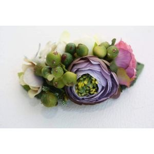 "Flower hair clips ""Green berries"""