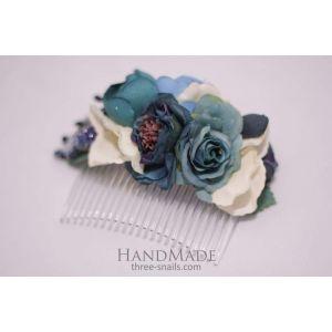 """Flower hair slide """"Blue Marine"""""""
