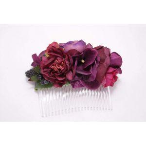 """Flower hair slide """"Marsala wine"""""""