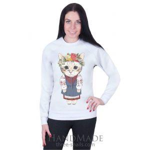 Girls outfits. White Woman Sweatshirt «Kitten»