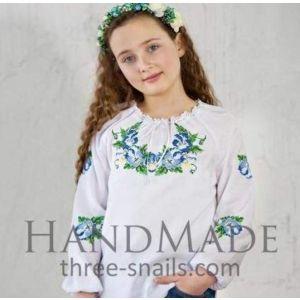 "Girls white blouse ""Christina flowers"""