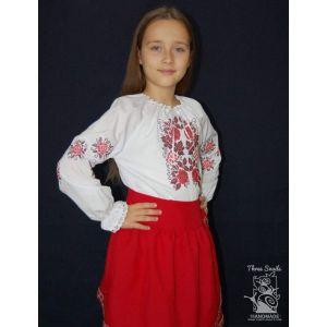 """Girls white blouse """"Ruby viburnum"""""""