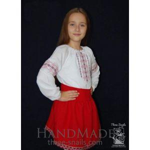 "Girls white long sleeve shirt ""Classic Ruby"""