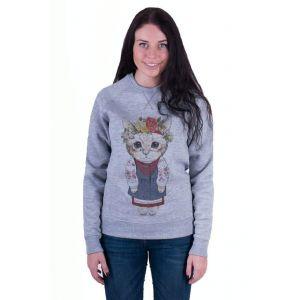 Grey Woman Sweatshirt «Kitten»