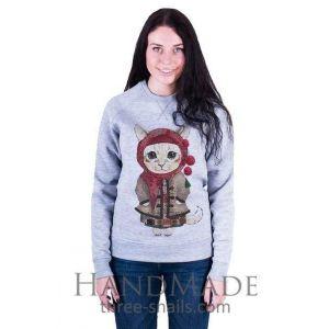 Grey Woman Sweatshirt «She-kitty»