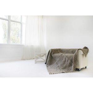 "Grey wool throw blanket ""Striped"""
