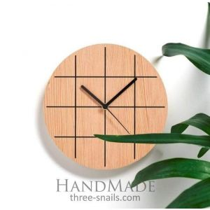 Grid Wooden Wall Clock