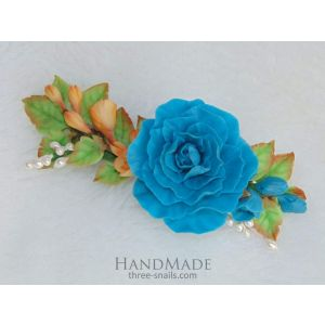"Hair barrette ""Blue rose"