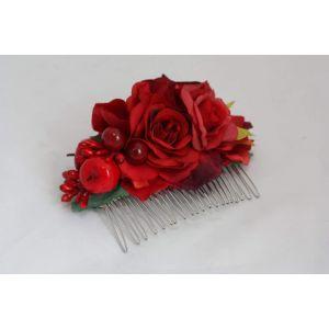 "Hair flower accessories. Hair comb ""Strawberry taste"""