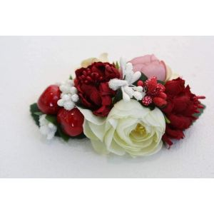 "Hair flower clips ""Red and white"""