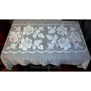 "Hand Crochet Tablecloth ""Flower Bunch"""