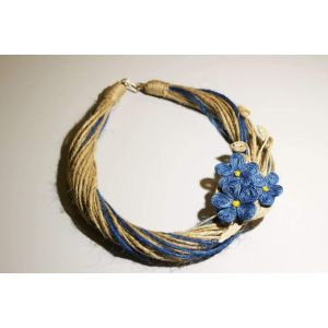 """Handcrafted Jute Brooch Necklace """"Blue Flowers"""""""