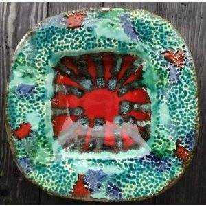 "Handmade ceramic plates ""Red bottom"""