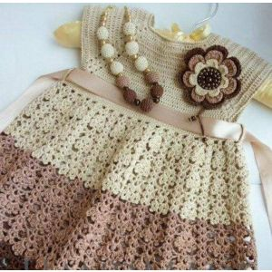 "Handmade crocheted dress ""Coffee miracle"""