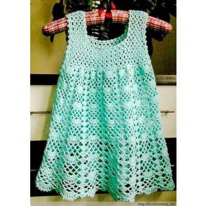 """Handmade crocheted dress """"Cool mint"""""""