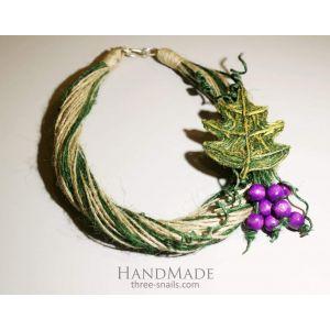 "Handmade Jute Brooch Necklace ""Grape"""