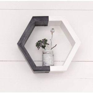 Hexagon wooden shelf  white black