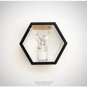 "Hexagon wooden shelf ""White&black"""