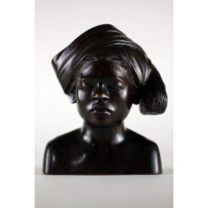 Indonesian woman carved wood sculpture