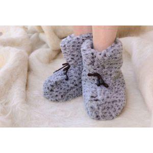 """Indoor home boots """"Gray Leopard"""""""