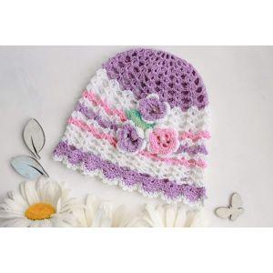 """Infant crochet hat""""Violet patterns"""""""