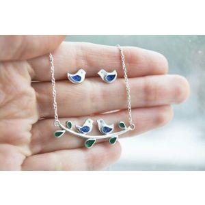 Jewelry set silver birds
