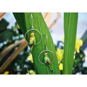 "Jungle hoop earrings ""Green parrots"""