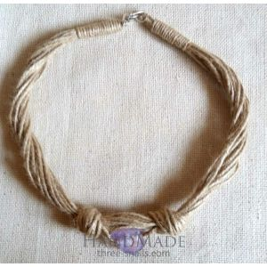 "Jute necklace ""Violet water"""